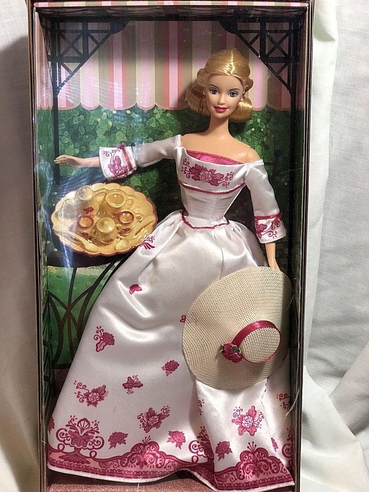 Free shipping Victorian Tea Barbie Avon 2002 White Rose Gown