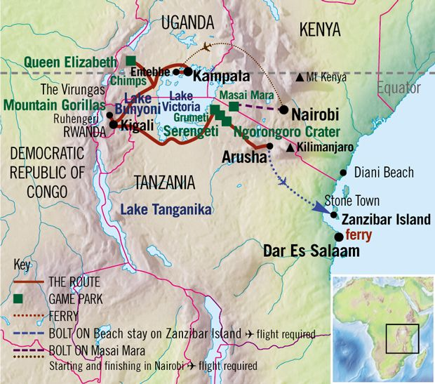 Gorilla & Game parks 13 days (Absolute Africa) An overland trip