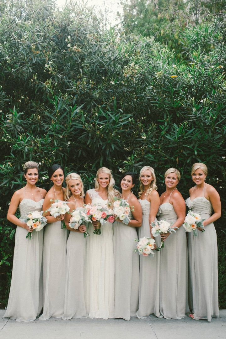 Ethereal Amsale gowns + pastel shades wedding bouquets #pastel #neutral #lightgreen #bridesmaiddresses