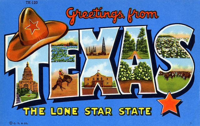 Greetings from texas the lone star state large letter postcard greetings from texas postcard m4hsunfo