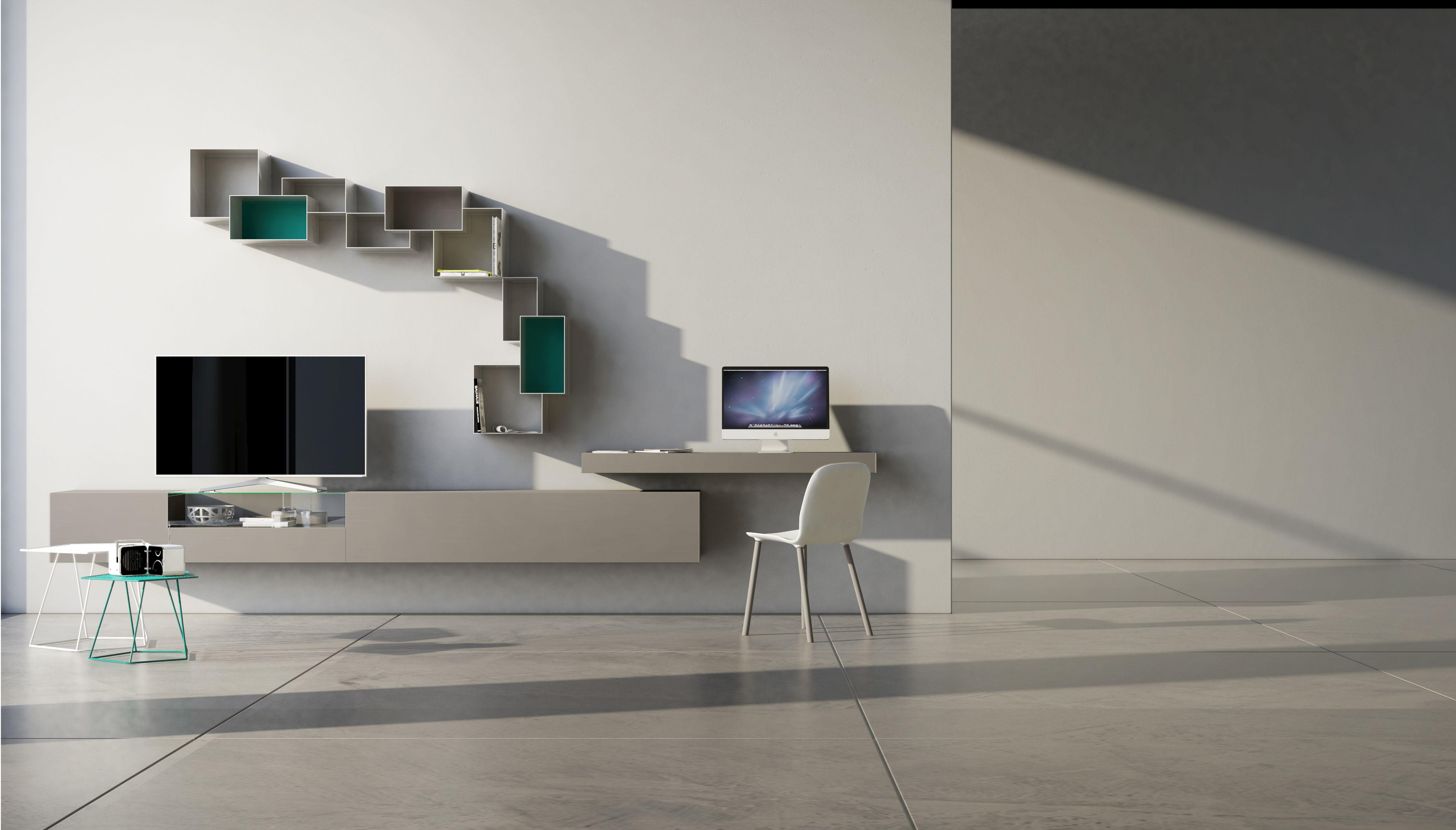 Parete attrezzata con scrivania soggiorno con scrivania for Scrivania soggiorno