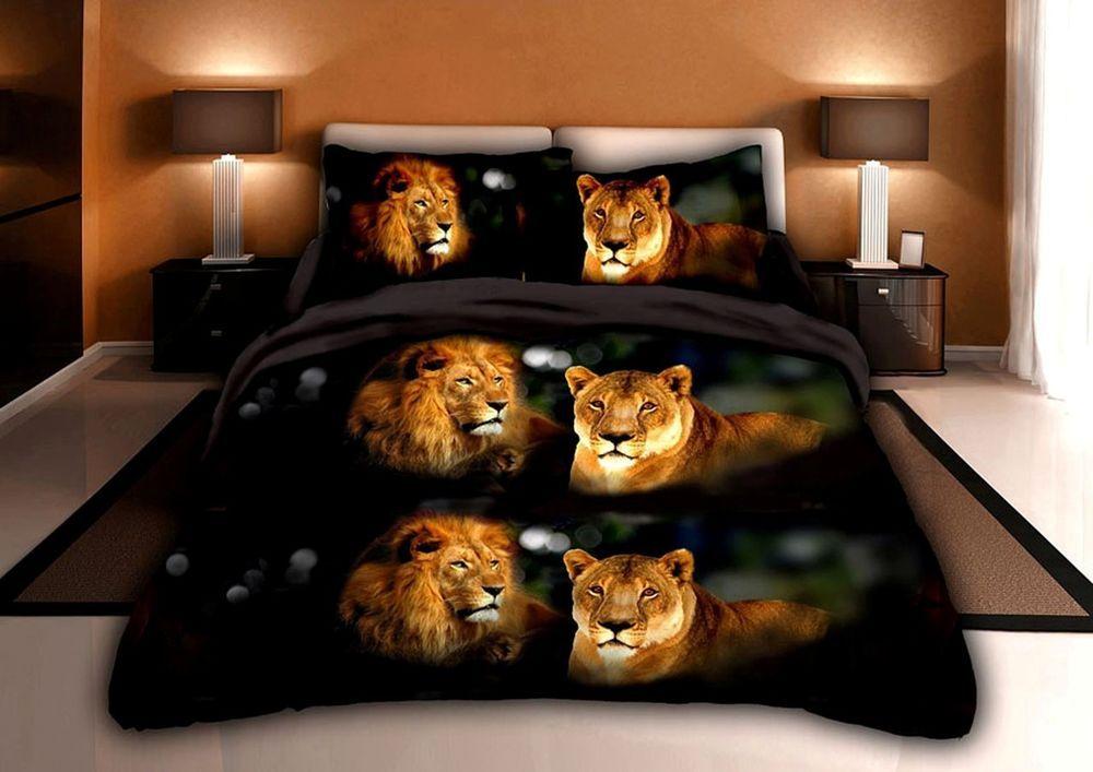 2 Piece Set 3d Lion Pride Print Soft Box Stitch Comforter Twin Size Black (Y015) #Homechoice #Modern