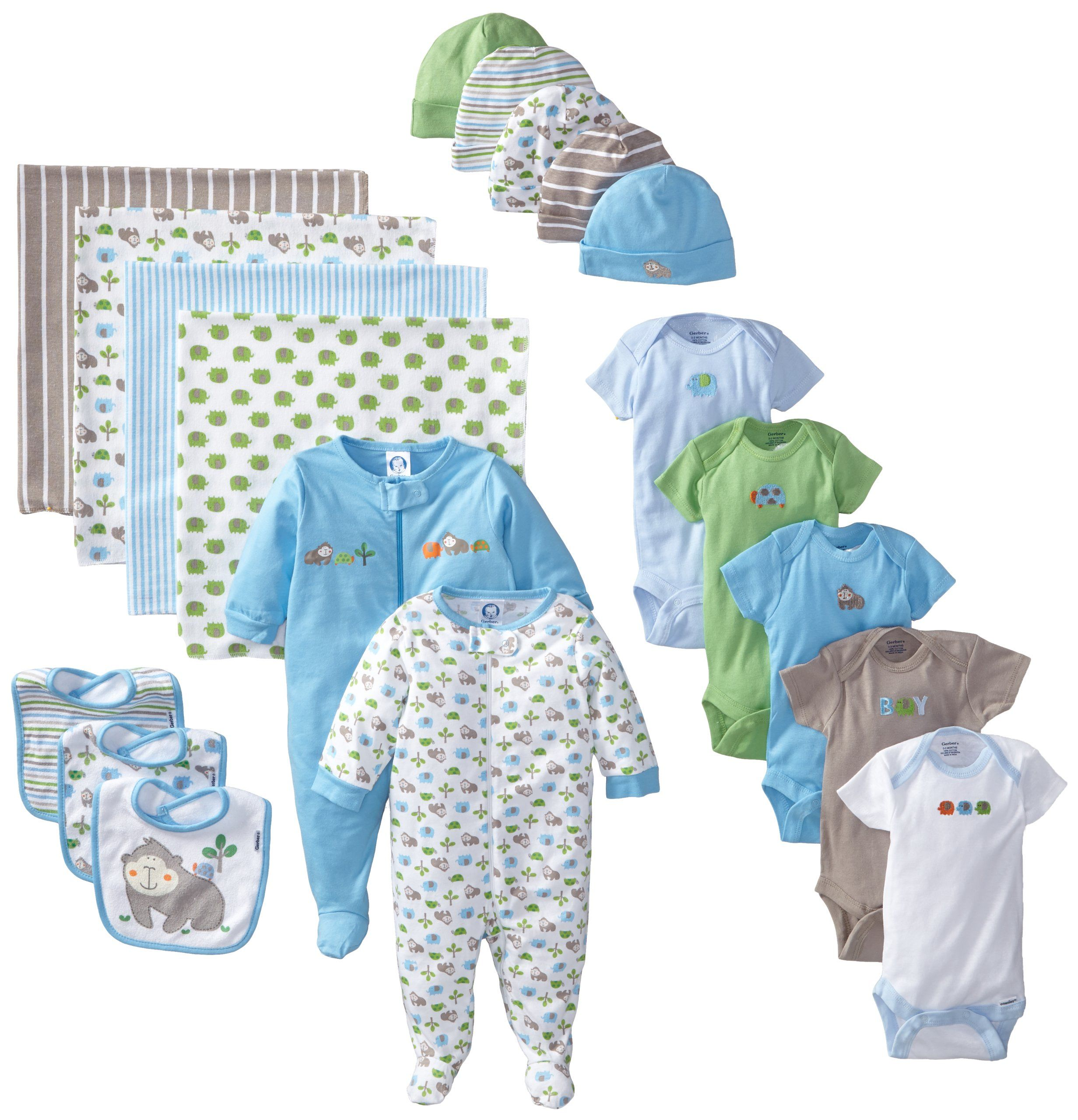 Gerber Baby Boys Newborn 19 Piece Newborn Essentials Gift Set Blue 0 3 Months Newborn Baby Boy Gifts Newborn Boy Clothes Gerber Baby