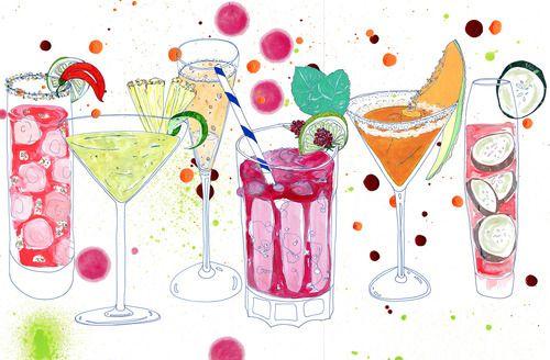 Cocktails Kunstdruck Sommer Getränke bunte Kunstwerk