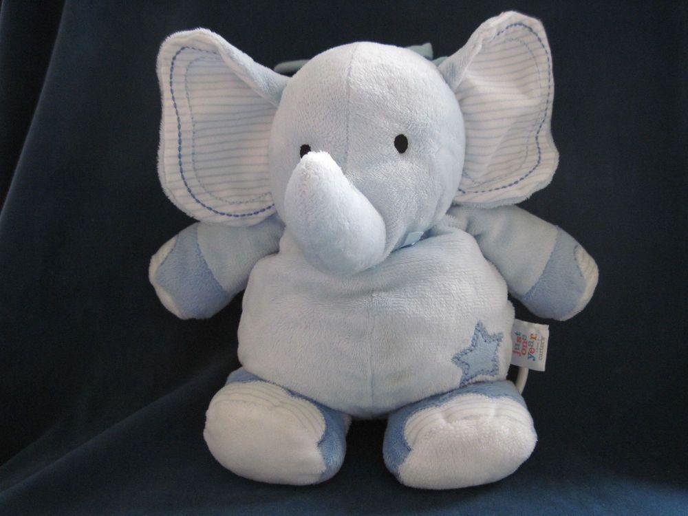 Just One Year Elephant Musical Crib Pull Toy Plush Blue Star Stripes Carters Euc Elephant Plush Musical Plush Blue Star