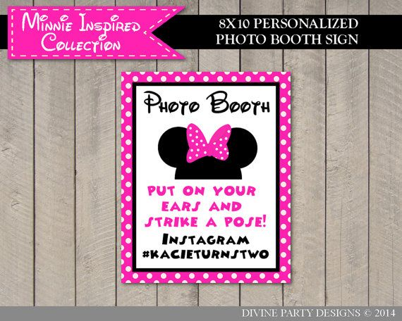 Personalized Pink Minnie Inspired Instgram Photo Booth Sign by DivinePartyDesign, $4.00. Printable DIY.
