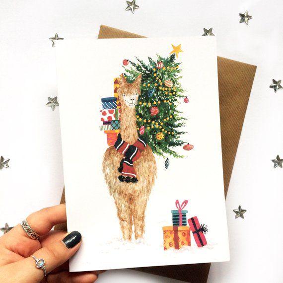 Llama christmas card   Cute christmas card   Animal christmas card