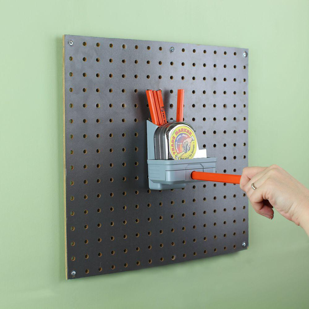 Plastic Peggable Pencil Sharpener With Tape Measure Holder In Gray 1 4 In 24285 The Home Depot Pencil Sharpener Marking Tools Peg Board