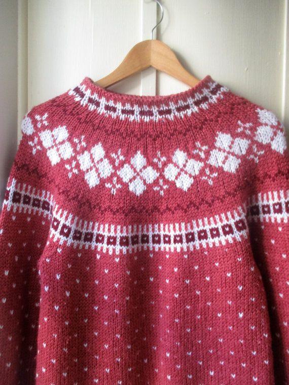 Vintage handknit Fair Isle Sweater / 1980s Dusty rose & white ...