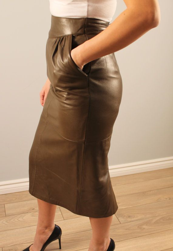 Vintage leather skirt khaki green pencil skirt below knee front ...