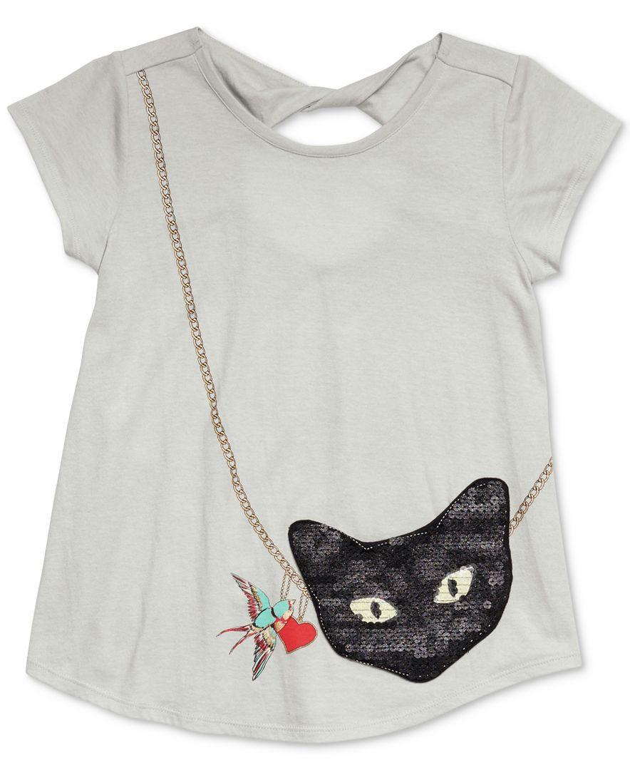 Jessica Simpson Katelyn Cat Purse Pocket T Shirt Big Girls 7 16