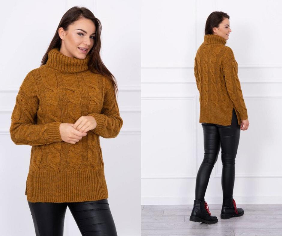 Dámsky sveter rolákový farba moro a8136fe719c