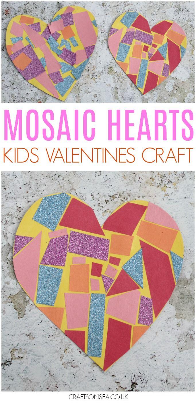 Easy Mosaic Heart Craft Mosaics Pinterest Valentines Crafts