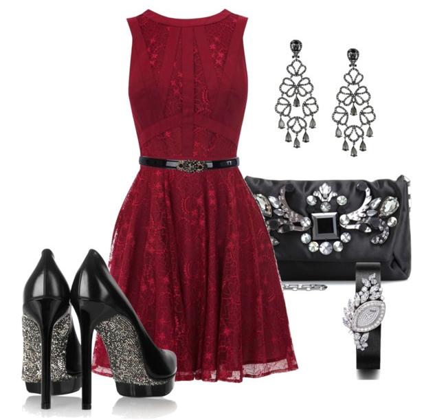 Black dress red heels hanging