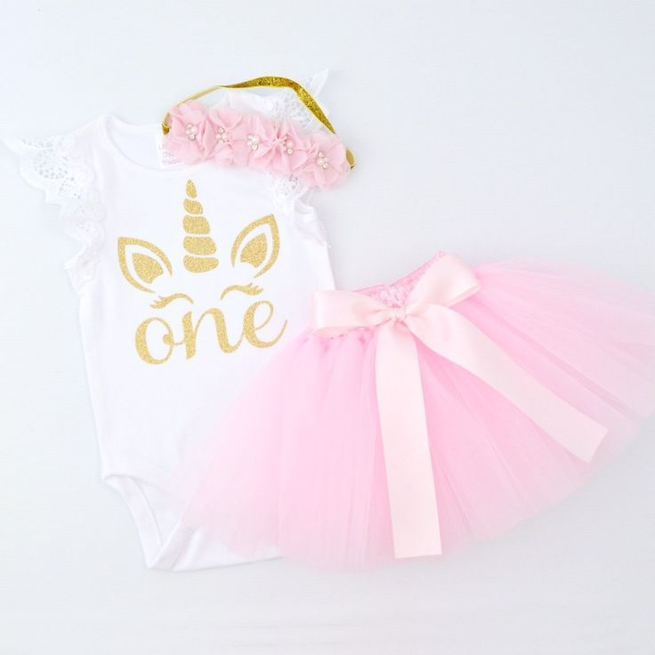 Pink Tutu  Gold Glitter Unicorn 1st Birthday Outfit with Flower Headband  Lace Flutter Slee Pink Tutu  Gold Glitter Unicorn 1st Birthday Outfit with Flower Headband  Lace...