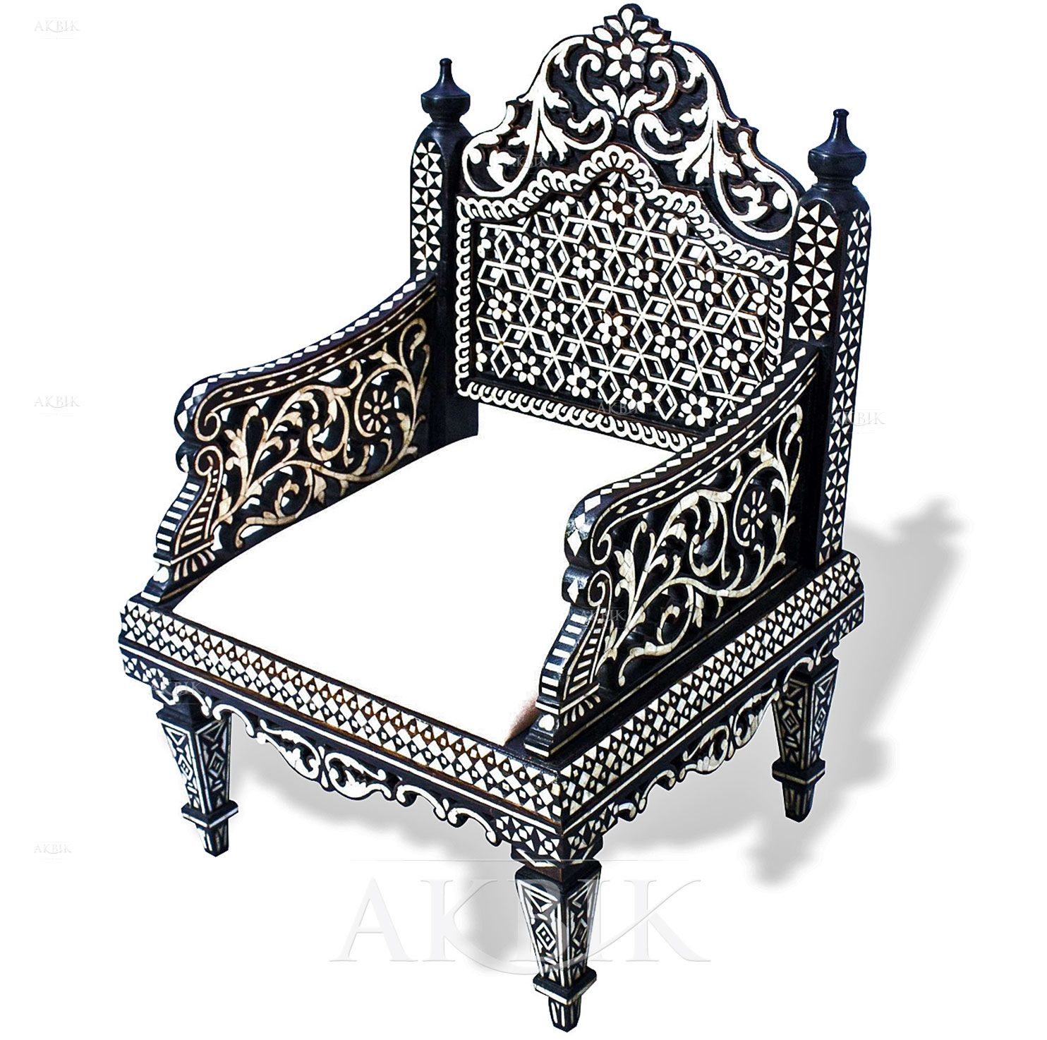 96121   Arabian Moroccan Style Chair Inlaid With Mother Of Pearl