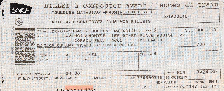 Billet De Train Sncf Billet De Train Billet Train Sncf Train France