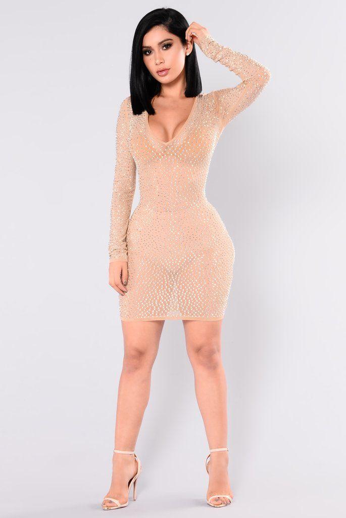 f513f487eea9d Isabela Rhinestone Dress - Nude Silver Curvy Women Fashion