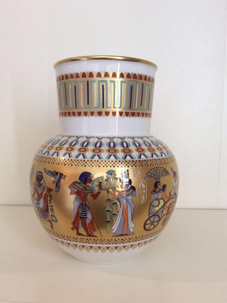 Antique Kaiser Theban King Tut Egyptian White Porcelain Vase Made In
