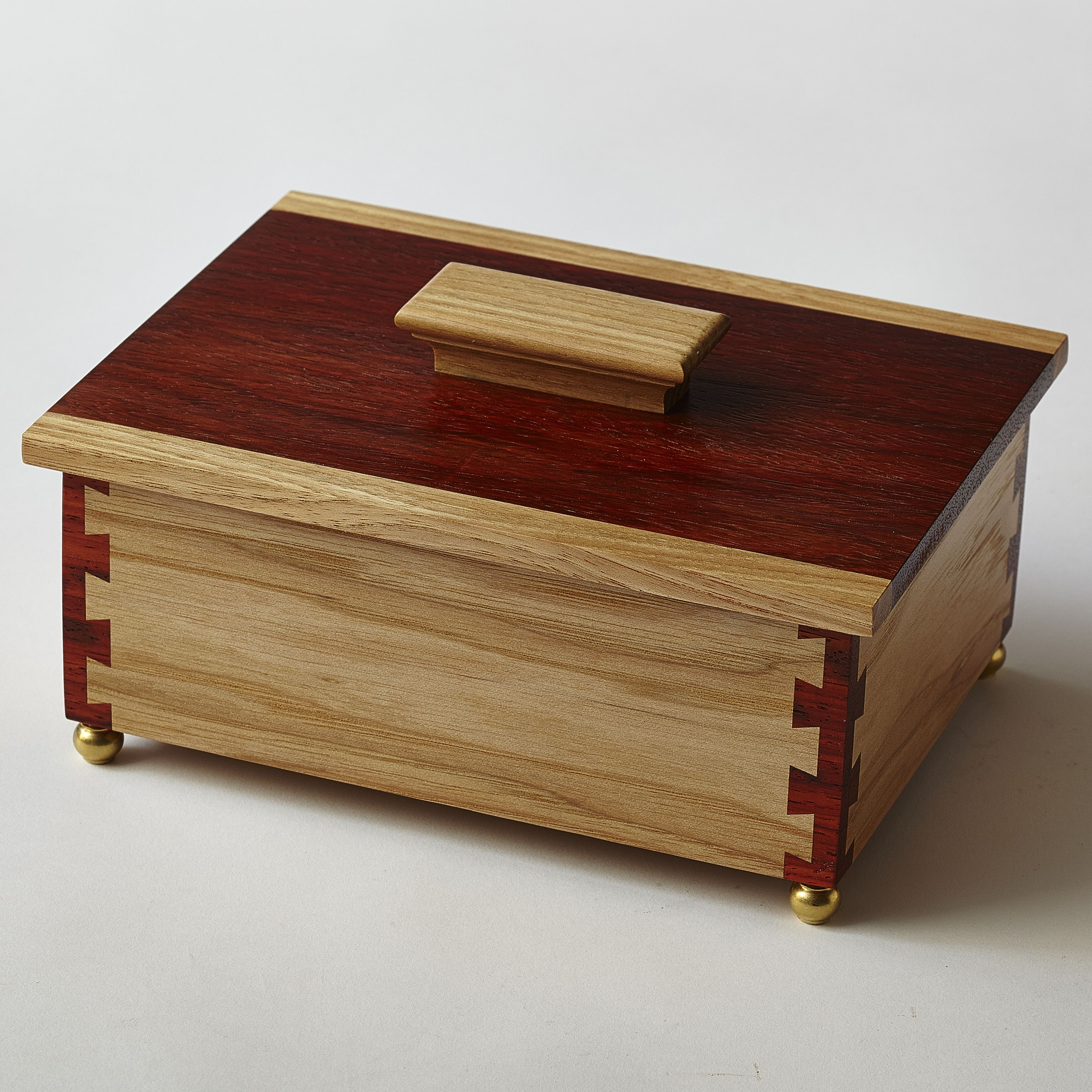 Hickory and padauk keepsake box with cornerpost dovetail ...