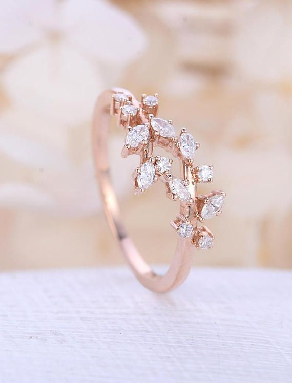 Photo of Rose gold engagement ring vintage moissanite engagement ring Diamond Cluster ring unique leaf wedding  Bridal ring Promise Anniversary