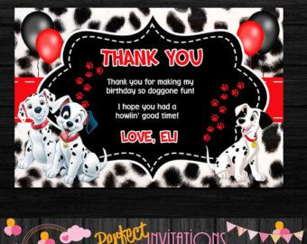 Red 101 Dalmatians Birthday Or Baby Shower Thank You 101 Dalmations Invitation Digital File Paw Printable Invitations Birthday Baby Shower Thank You