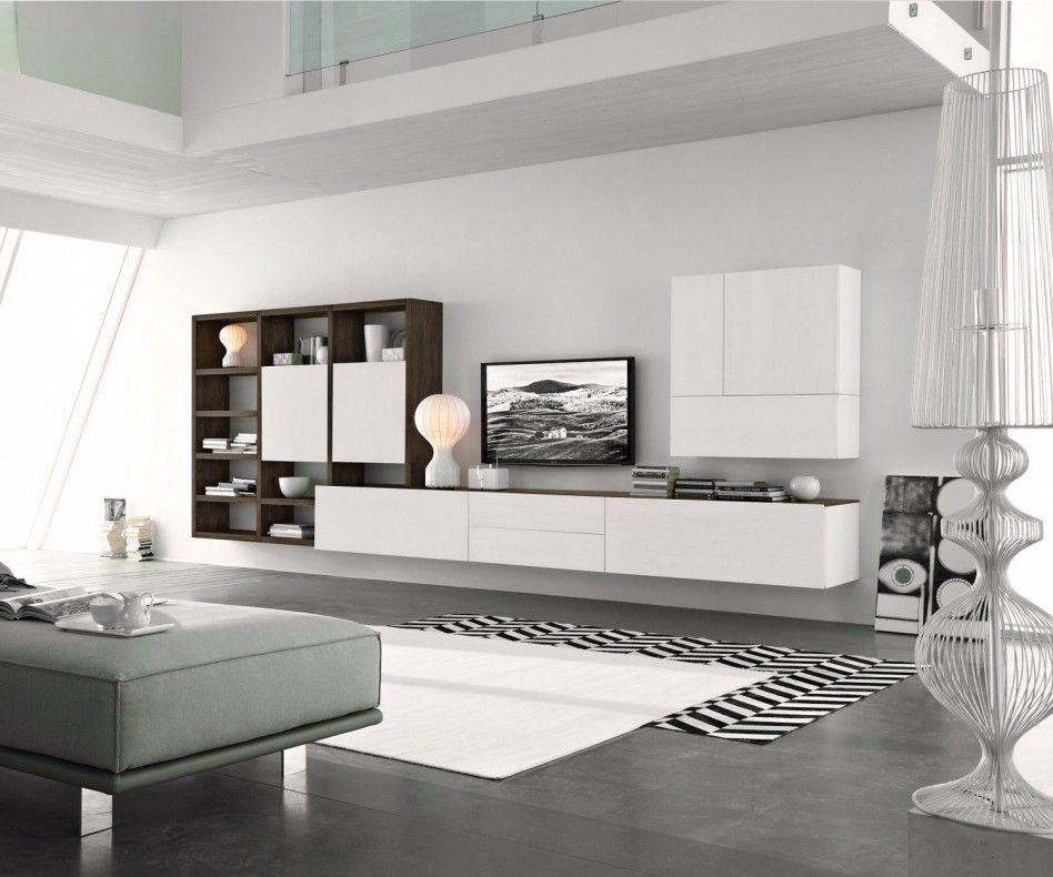 Livitalia Wohnwand C96B Wohnzimmer, Wohnzimmer sideboard und - wohnzimmer wohnwand weiß