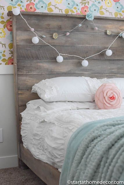 Little Girls Room Makeover With Beautiful Floral Wallpaper And A Reclaimed  Wood Bed.