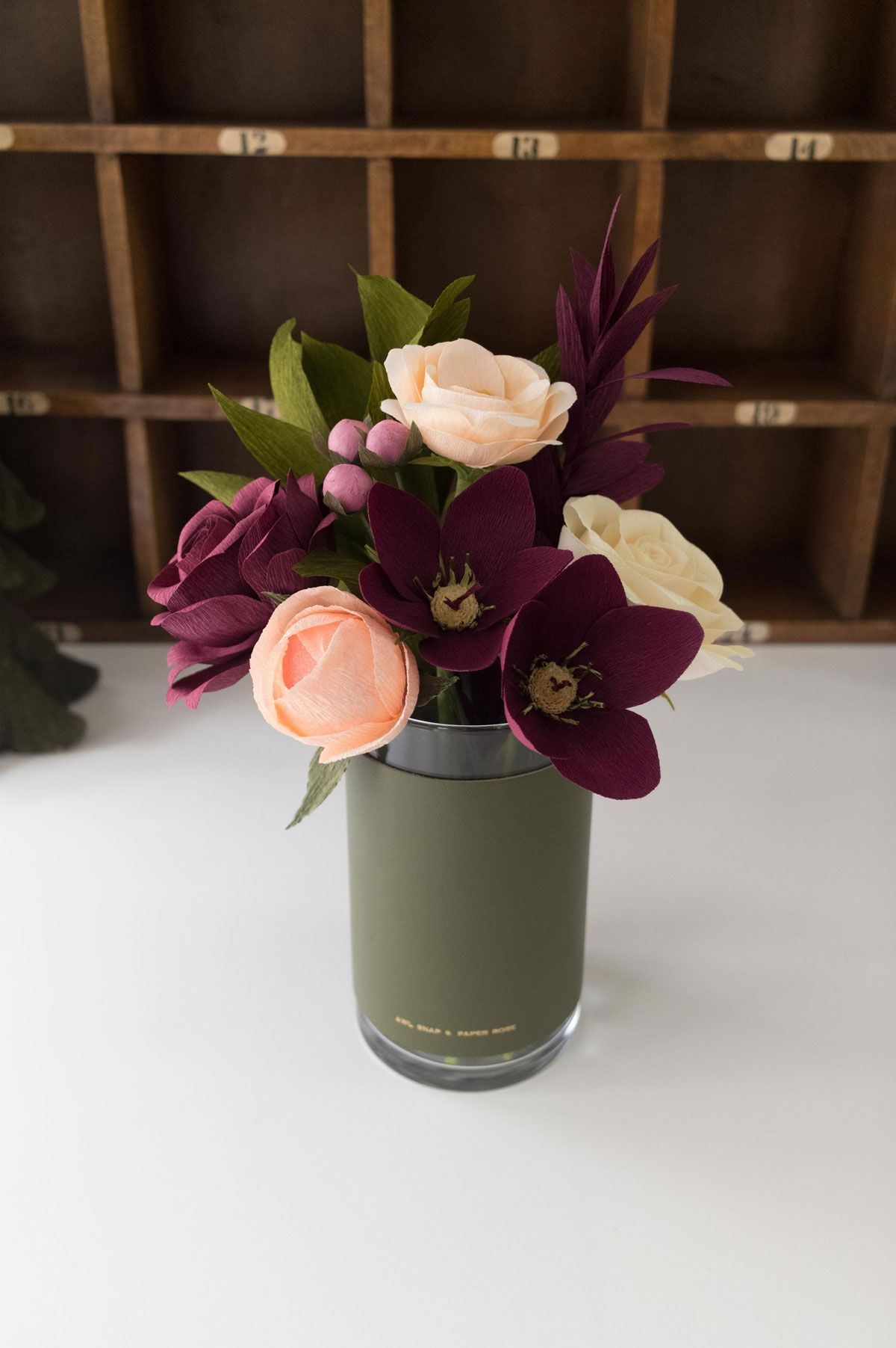 A Feminine Spin On Holiday Cheer This Arrangement Includes 10 Items 2 Lenten Roses A Variety Of Hellebore Also Paper Flower Decor Paper Flowers Paper Roses