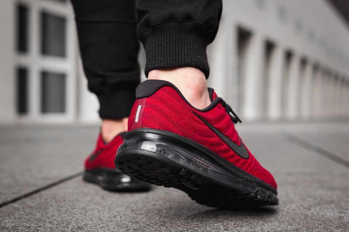 best sneakers e5dd7 5efe3 On-foot images of the Nike Team Red Black-Dark Grey Nike Air Max 2017 (style  849559-603), a recently-released colorway of this year s Air Max model.