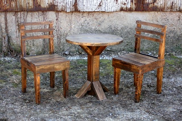 Pallet Wood Bistro Set by Upcycled Woodworks on Etsy