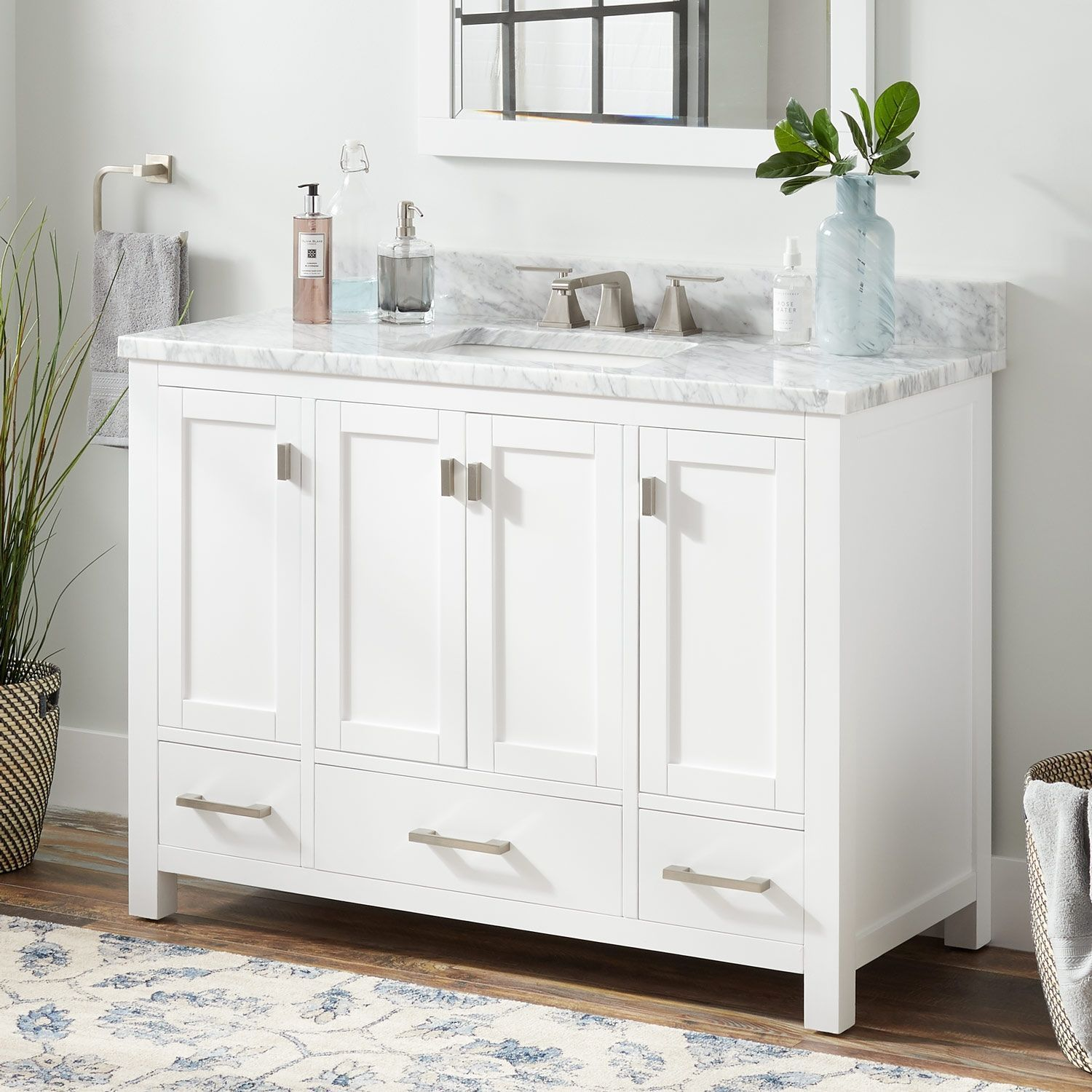 48 Quen Vanity For Rectangular Undermount Sink  White