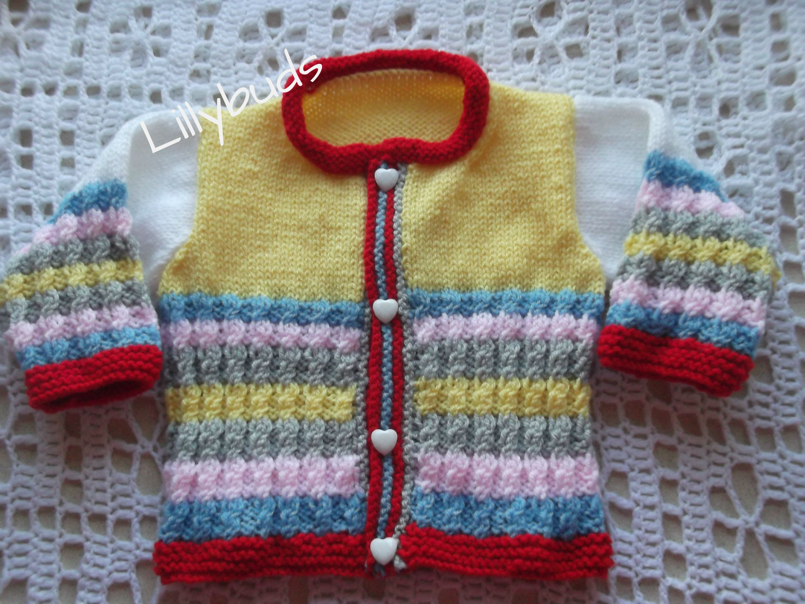 Hand knitted baby cardigan multi coloured stripes my gotshop hand knitted baby cardigan multi coloured stripes bankloansurffo Gallery