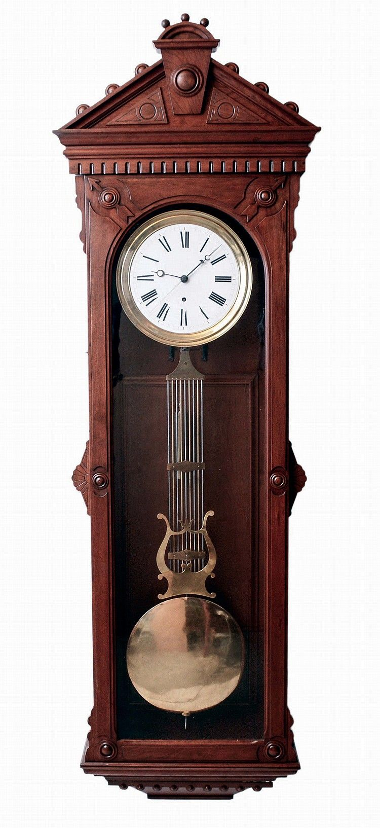 Large American Jeweler S Regulator Wall Clock 8 Days Time Only Weight Driven Swiss Movement With Pinwheel Escapement And Gri Wall Clock Clock Antique Clocks