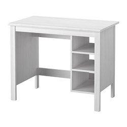 IKEA - BRUSALI, Schreibtisch, weiß, , Im Fach unter der Tischplatte sind Kabel…