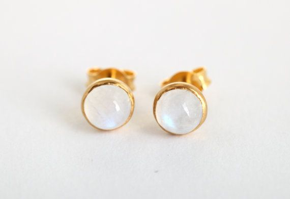 Moonstone Stud Earrings Gold Studs Cabushon Cut Stone Post White Small On Etsy 68 00