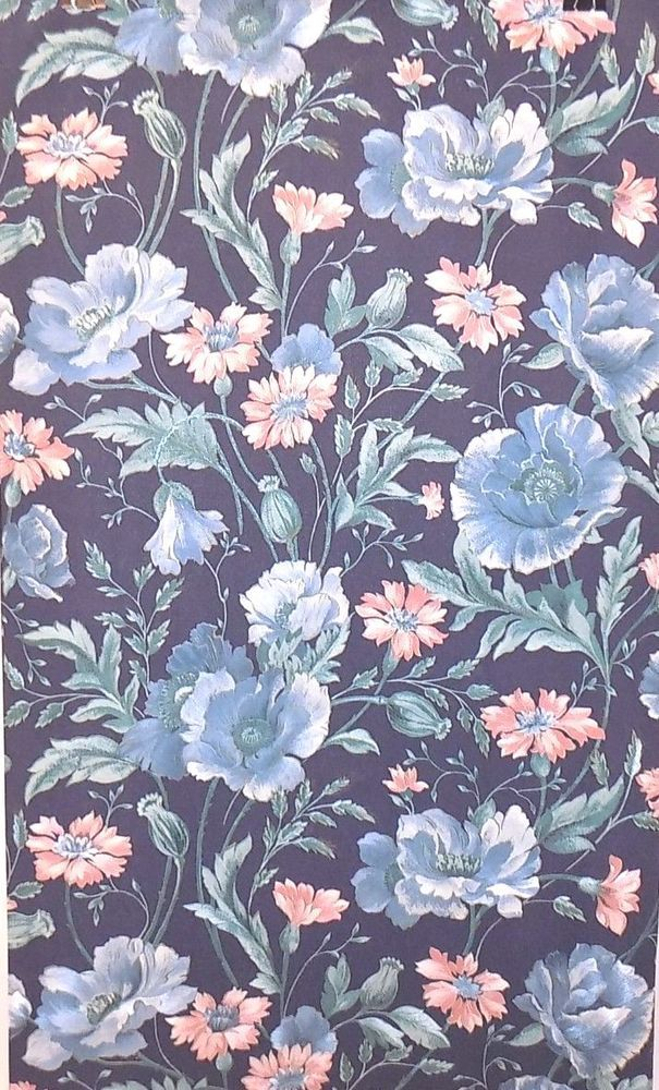 Details About Borden Home Wallcoverings Floral Wallpaper Dark Blue Background WS3153 56 SQ FT