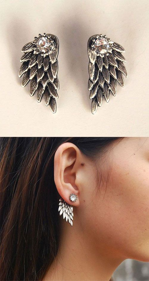 Jewelry & Watches Other Fashion Jewelry Silver Blue Large Feather Angel Wing Fashion Earring Boho Festival Boutique Uk 2019 Official