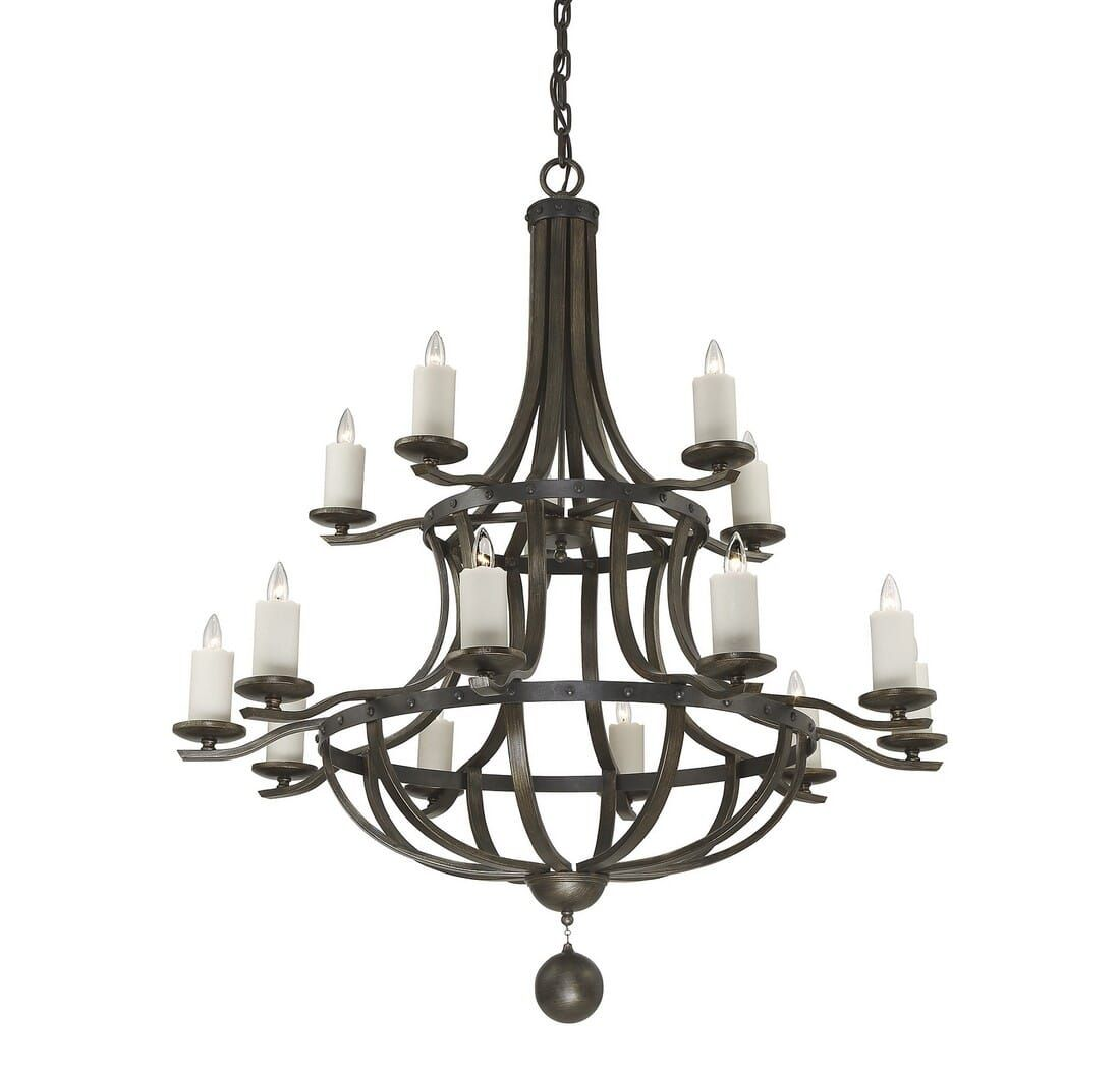 Photo of Savoy House Alsace 58″ 15-Light Chandelier in Reclaimed Wood