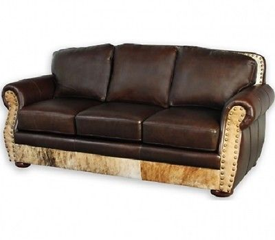 Western Sofa Hair On Hide Bridger Leather Couch American Made