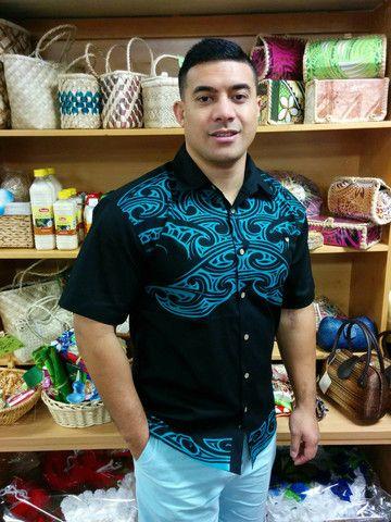 Men 39 s shirt featuring 2 colour tapa spike print maori for Spikes tattoo maui