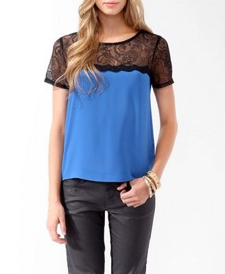 {relaxed lace trim top - forever 21} {love!}