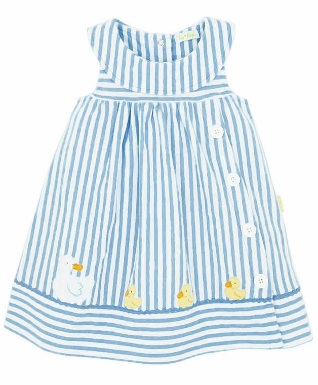 Le Top Toddler Girls Sky Blue Mama Amp Baby Ducks Striped