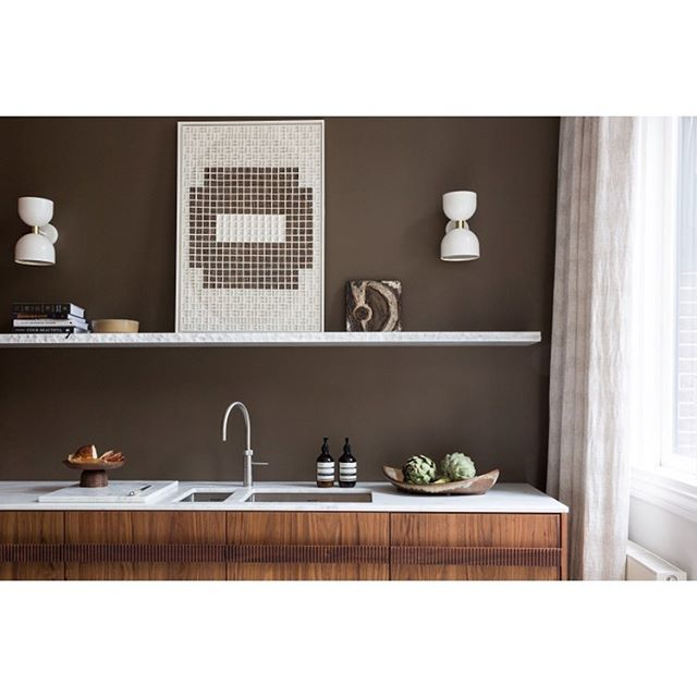 Brown wall with wood Walnut kitchen, Interior