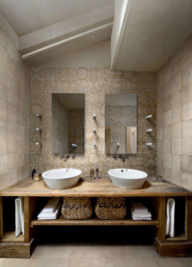 40 baños rústicos modernos con una gran mezcla de acabados