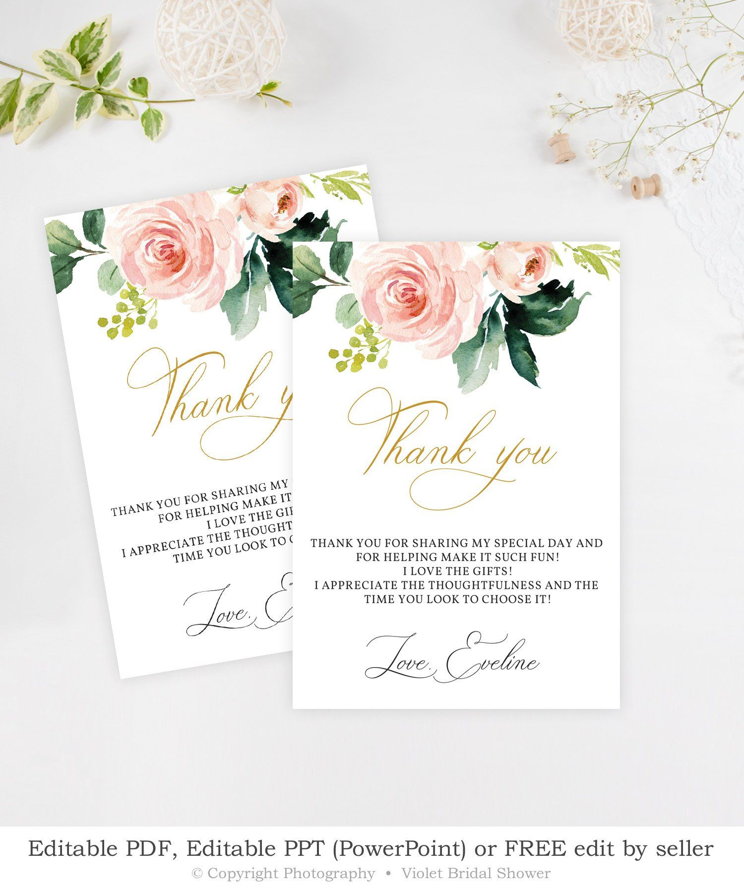 Editable Boho Thank You Card Printable Blush Pink Floral Bridal Shower Thank You Pink Go Boho Bridal Shower Thank You Card Template Bridal Shower Printables