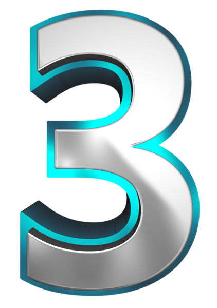 Metallic and Blue Number Three PNG Clipart Image | números ...