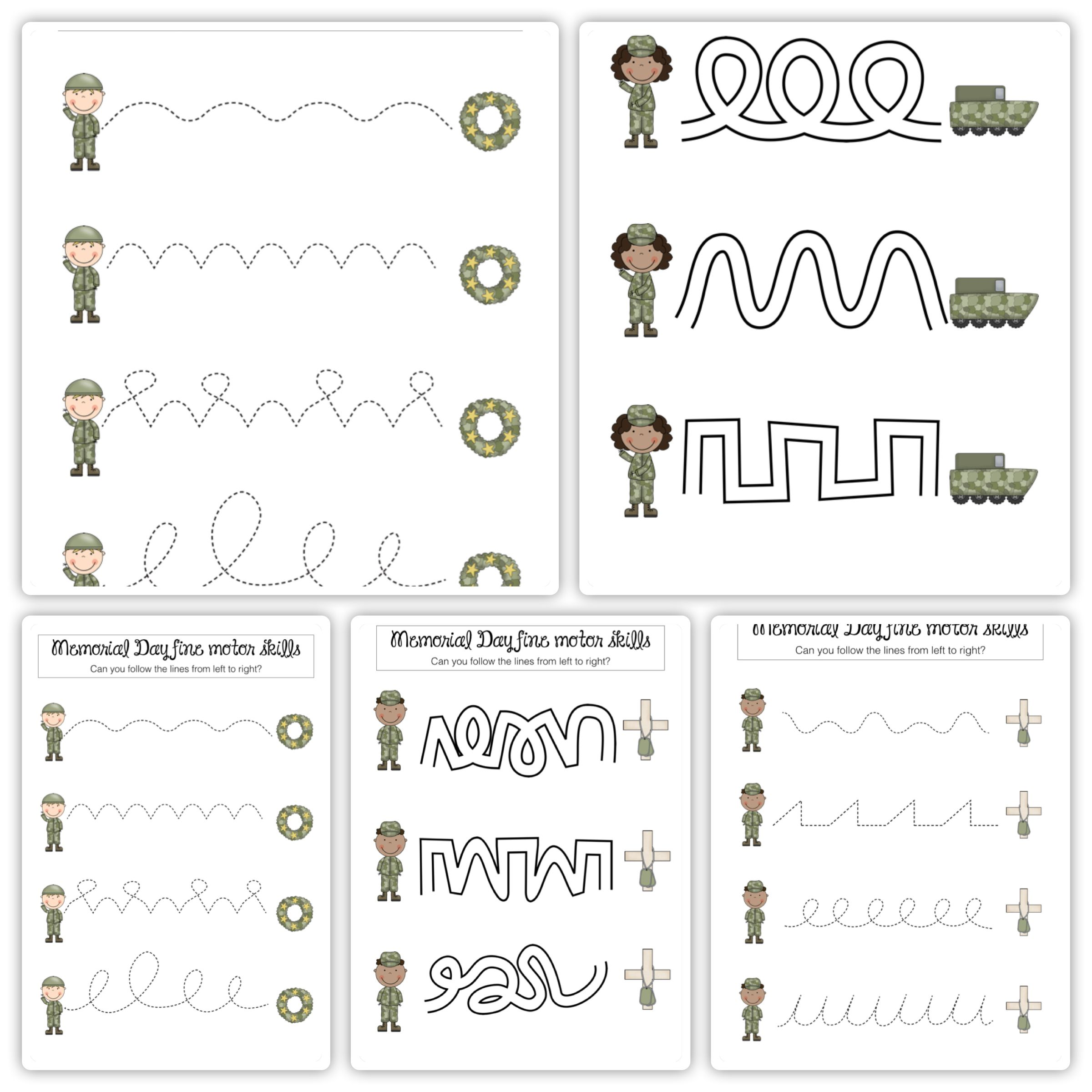 Memorial Day Fine Motor Skills Worksheets