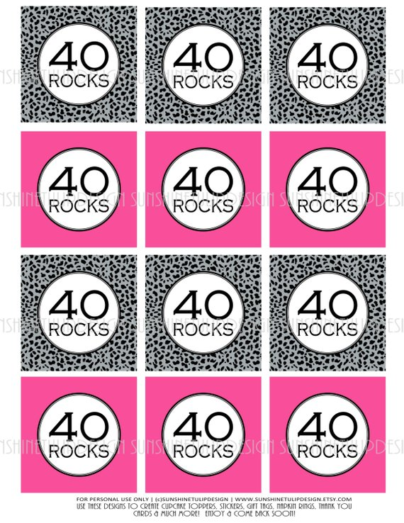 40th Birthday Hot Pink And Cheetah Printable DIY Cupcake Toppers Sticker Labels Gift Tags By Sun
