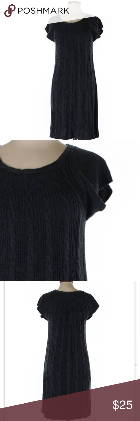 "Calvin Klein Wool Chunky Knit Sweater Dress Small Calvin Klein Wool Chunky Knit Knee Length Midi Black Sweater Dress Small. True to size. 37"" shoulder to hem 17"" pit to pit. Excellent condition. Calvin Klein Sweaters"